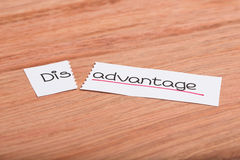 Sign with word disadvantage turned into advantage. Two pieces of white paper with the word disadvantage turned into advantage Stock Images