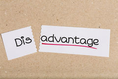 Sign with word disadvantage turned into advantage. Two pieces of white paper with the word disadvantage turned into advantage Stock Photography