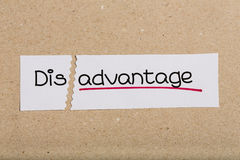 Sign with word disadvantage turned into advantage. Two pieces of white paper with the word disadvantage turned into advantage Royalty Free Stock Image