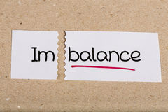 Sign with word imbalance turned into balance. Two pieces of white paper with the word imbalance turned into balance stock photos