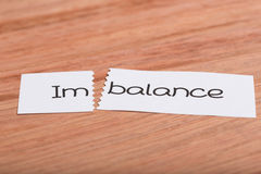 Sign with word imbalance turned into balance. Two pieces of white paper with the word imbalance turned into balance royalty free stock images
