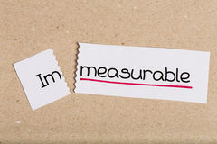 Sign with word immeasurable turned into measurable Stock Images