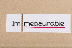 Sign with word immeasurable turned into measurable Stock Photography