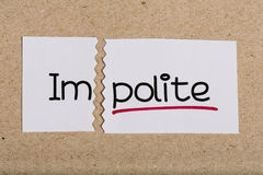 Sign with word impolite turned into polite Royalty Free Stock Image