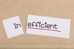 Sign with word inefficient turned into effcient Stock Photography