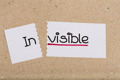 Sign with word invisible turned into visible. Two pieces of white paper with the word invisible turned into visible Stock Photos