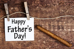Sign with the words Happy Fathers Day and a cigar stock image