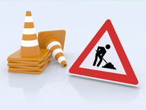 Sign work in progress and traffic cones. 3d illustration Stock Photo