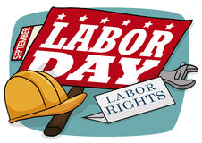 Sign with Work Tools and Calendar Reminder Commemorating Labor Day, Vector Illustration Royalty Free Stock Images