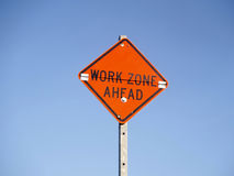 Sign work zone ahead Royalty Free Stock Photography
