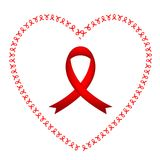 World Aids Day Red Ribbon Sign on White Background. Sign of World Aids Day Red Ribbon Sign on White Background Royalty Free Stock Photos
