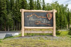 Sign for Wrangell-St. Elias National Park in Alaska. Wrangell St. Elias National Park is the largest national park in the United States, located in Alaska royalty free stock photos