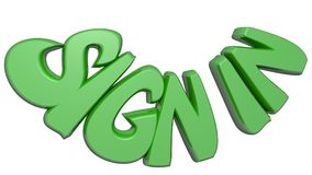 `SIGN IN` written with green 3D letters on white background - 3D rendering Stock Image