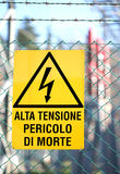 Sign written in Italian that means High voltage danger of death Stock Photos