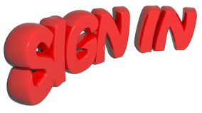 `SIGN IN` written with red 3D letters on white background - 3D rendering Stock Image