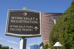 A sign at the Wynn with the Encore hotel in the background. Royalty Free Stock Image