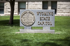 Sign at Wyoming State Capitol Building Stock Photo