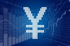 Yen and Stock Charts Royalty Free Stock Images