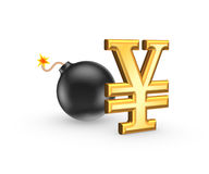 Sign of yen and black bomb. Royalty Free Stock Photography