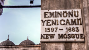 Sign of Yeni Cami New Mosque Istanbul Royalty Free Stock Photo