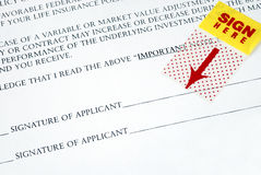Sign your name on the contract Royalty Free Stock Photography
