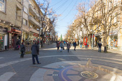 Sign zero kilometer in the center of Bourgas, Bulgaria Stock Photos