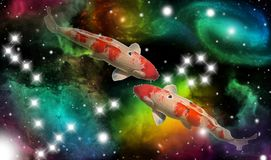 Sign of the zodiac pisces. Portrait of two fish in a colorful universe with some galaxies and stars and the zodiac sign pisces stock images