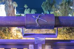 Sign of the zodiac Sagittarius on the bridge of the Wishing BridSign of the zodiac Sagittarius on the bridge of the Wishing Bridge. Tel Aviv-Yafo, Israel stock photography