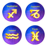 Sign of the zodiac Sagittarius, Capricorn, Aquarius, Pisces Stock Photos