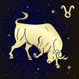 Sign of the zodiac Taurus is the starry sky Stock Image