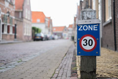 Sign zone of maximum speed 30 Royalty Free Stock Photography