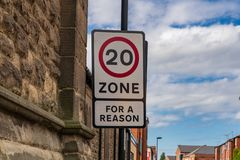 Sign: `20 Zone, For a reason`. Seen in Wallsend, Tyne and Wear, England, UK stock image
