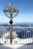 Sign on Zugspitze mountain Stock Photography