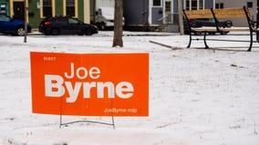 Signage Джо Byrne от PEI NDP на захолустное избрание 2019 стоковое фото
