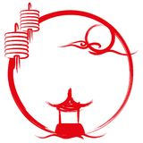 Signage значка дизайна иллюстрации фестиваля Средний-осени бесплатная иллюстрация