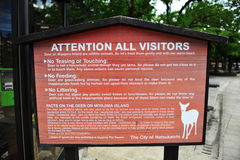 Signage относительно deers на Miyajiama (япония) Стоковое Фото
