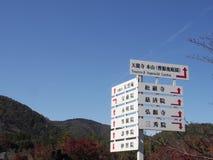 Signage святыни Японии деревянный под идеальным голубым небом стоковое изображение
