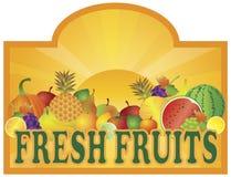 Signage стойки свежих фруктов с иллюстрацией Sun Стоковое Фото