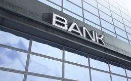 Modern Bank Building Signage royalty free stock photos