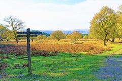 Signage amorti et obscurci dans le domaine de Longshaw, près de la gorge de Padley, Grindleford, East Midlands photographie stock libre de droits