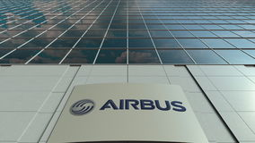 Signage board with Airbus logo. Modern office building facade. Editorial 3D rendering. Outdoor signage board with Airbus logo. Modern office building. Editorial Royalty Free Stock Photography