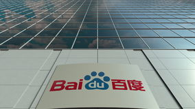 Signage board with Baidu logo. Modern office building facade. Editorial 3D rendering. Outdoor signage board with Baidu logo. Modern office building. Editorial 3D stock photo