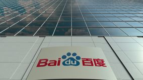 Signage board with Baidu logo. Modern office building facade time lapse. Editorial 3D rendering