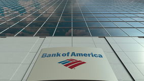 Signage board with Bank of America logo. Modern office building facade. Editorial 3D rendering Royalty Free Stock Images