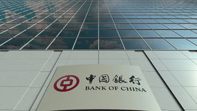 Signage board with Bank of China logo. Modern office building facade. Editorial 3D rendering Stock Image