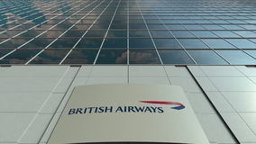 Signage board with British Airways logo. Modern office building facade. Editorial 3D rendering. Outdoor signage board with British Airways logo. Modern office royalty free illustration