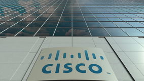 Signage board with Cisco Systems logo. Modern office building facade. Editorial 3D rendering. Outdoor signage board with Cisco Systems logo. Modern office Stock Image