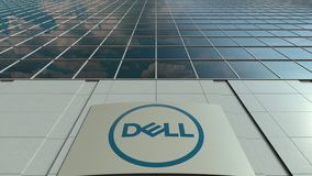 Signage board with Dell Inc. logo. Modern office building facade time lapse. Editorial 3D rendering. Outdoor signage board with Dell Inc. logo. Modern office stock video