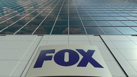 Signage board with Fox Broadcasting Company logo. Modern office building facade time lapse. Editorial 3D rendering
