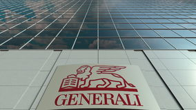 Signage board with Generali Group logo. Modern office building facade. Editorial 3D rendering Stock Photo